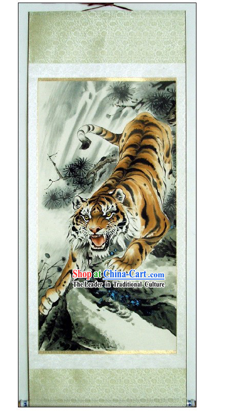Traditional Chinese Tiger Painting by Lin Mingqing