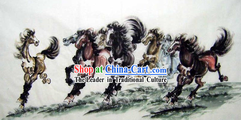 Traditional Chinese Watercolour Paintings - Running Horses