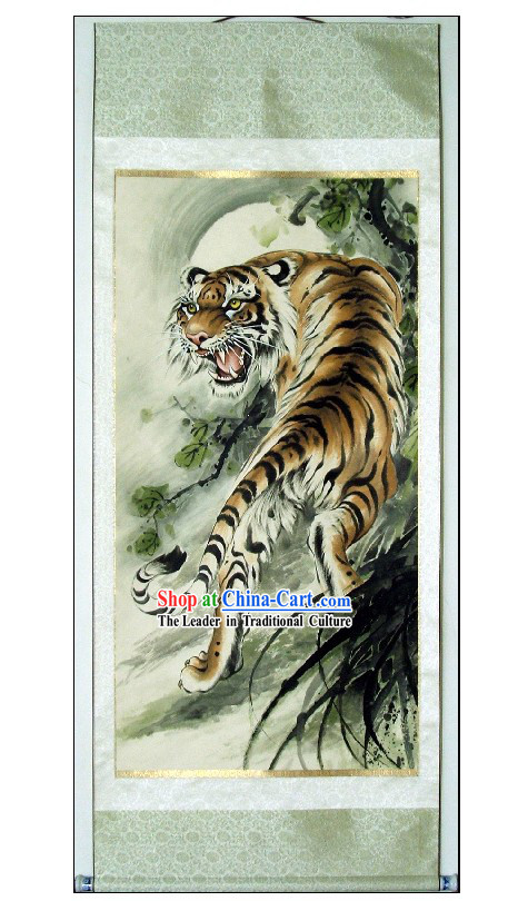 Traditional Chinese Tiger King Painting by Lin Mingqing