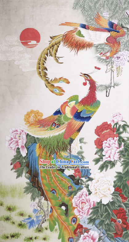 Traditional Chinese Phoenix Paintings _ Phoenix Peony Painting