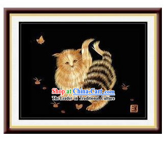 Chinese Handmade Grain Painting - Playing Cats