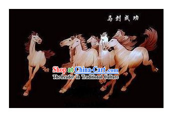 Chinese Handmade Grain Paintings - Galloping Horses