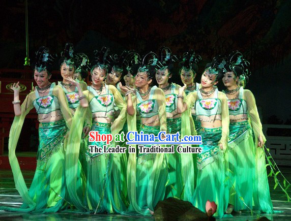 Chinese Ancient Palace Long Sleeve Dance Costumes Complete Set