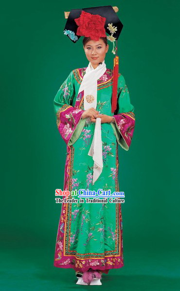 China Manchu Minority Ethnic Dress and Hat Complete Set