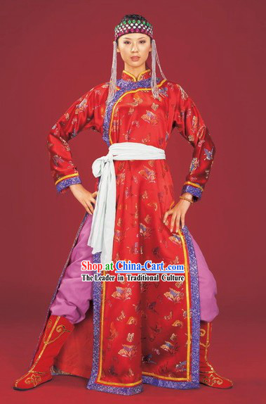 Chinese Olunchun Minority Clothing and Hat Complete Set