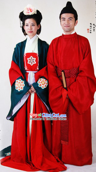Chinese Ancient Costume Tang Dynasty Wedding Dresses 2 Complete Sets