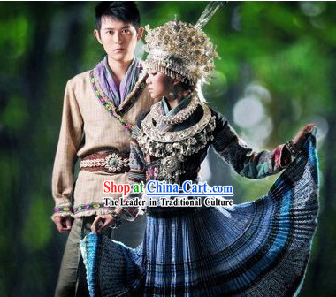 Traditional Miao Clothing Garment Dress and Hat Complete Set for Women