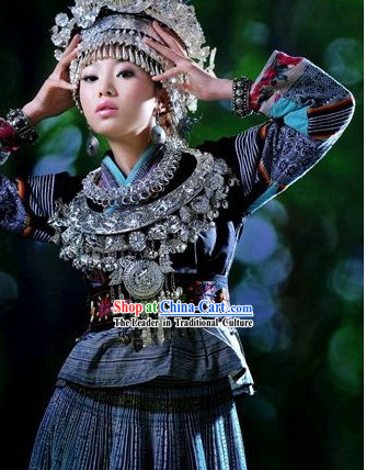 Traditional Miao Clothing and Crown Complete Set