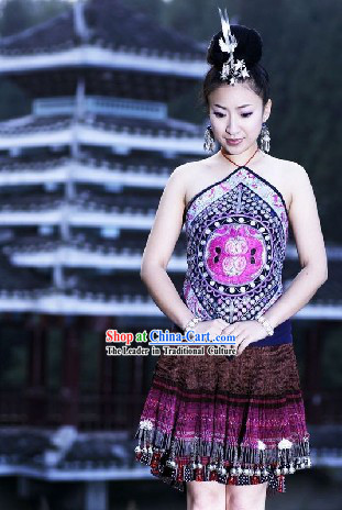 Chinese Handmade Embroidery Miao Outfit and Miao Headdress Set