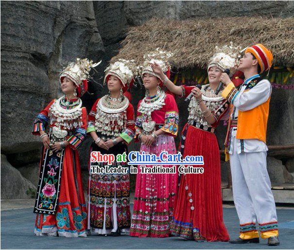 Traditional Miao Clothing and Miao Minority Jewelry 5 Complete Sets