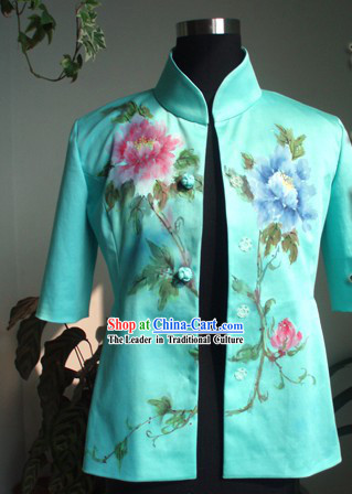 Traditional Hands Painted Flower Middle Sleeve Coat