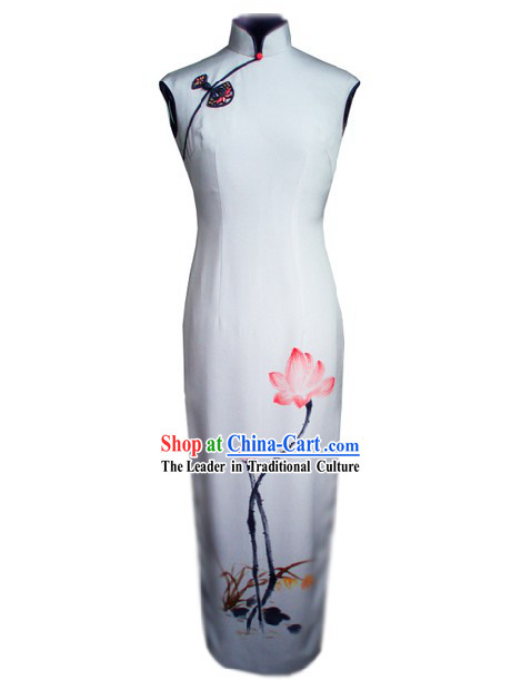 Traditional Handmade and Painted Summer Lotus Long Silk Cheongsam