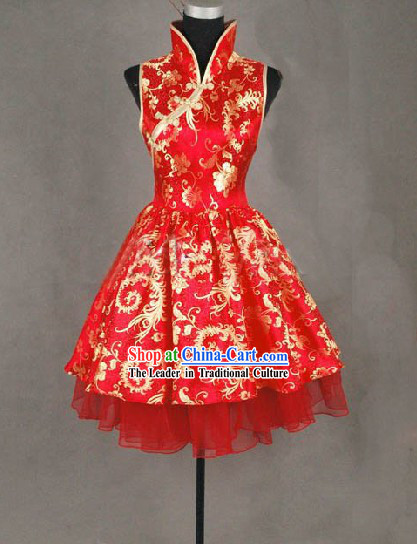 Traditional Mandarin Handmade Phoenix Tail Wedding Cheongsam Shirt