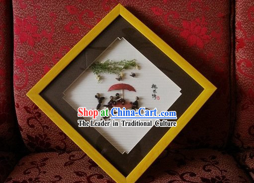 Chinese Traditional Bean Painting Arts and Crafts - Cat Playing