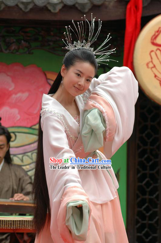 Zhu Yingtai Long Sleeve Costumes and Headpiece Set in Butterfly Lovers