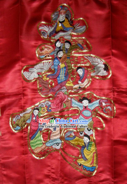 Chinese Traditional Embroidery Handicraft - Nine Stars Offer Birthday Felicitations