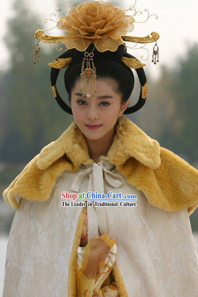 Chinese Classical Tang Dynasty Empress Hair Decoration and Wig Complete Set