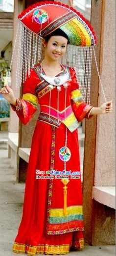 Chinese Traditional Minority Outfit and Hat Complete Set