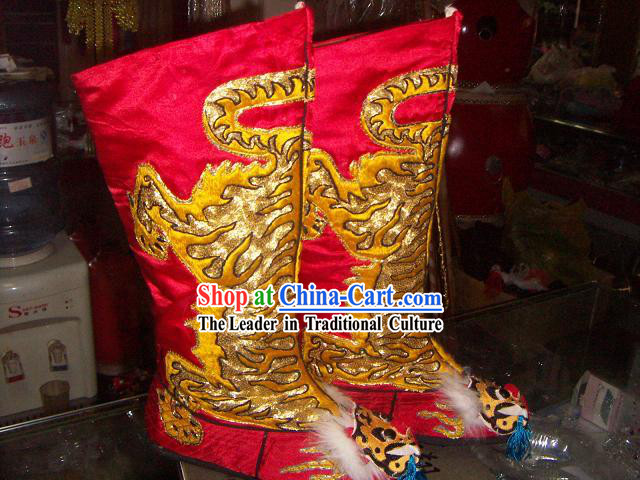 Chinese Classical Embroidered Tiger Boots for Men