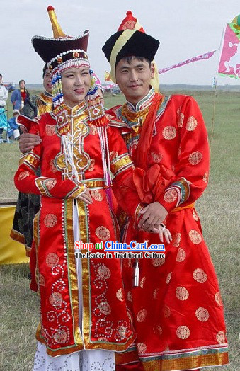 Mongolian Wedding Dress and Hat Complete Set for Bride and Bridegroom