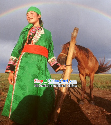 Traditional Mongolian Embroidered Clothing and Hat Complete Set