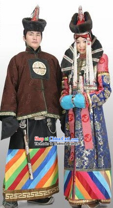 Traditional Chinese Minority Wedding Dress and Hat for Bride and Bridegroom