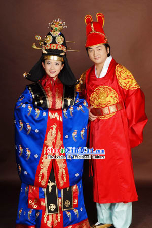 Traditional Korean Wedding Dress Bride and Bridegroom 2 Complete Sets