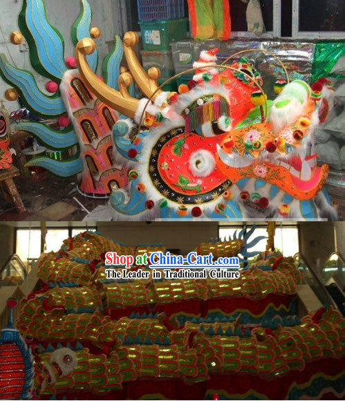 Large Luminous Supreme Long Wool Dragon Dance Costume Complete Set