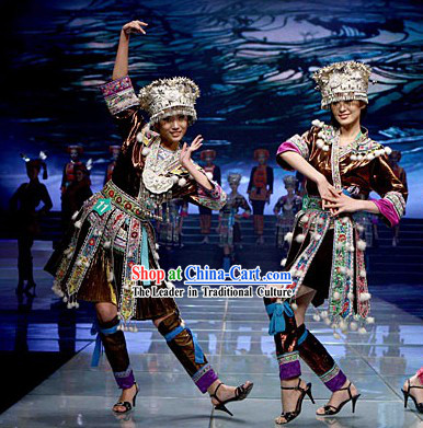 Chinese Classical Miao Costume and Miao Headdresses Set