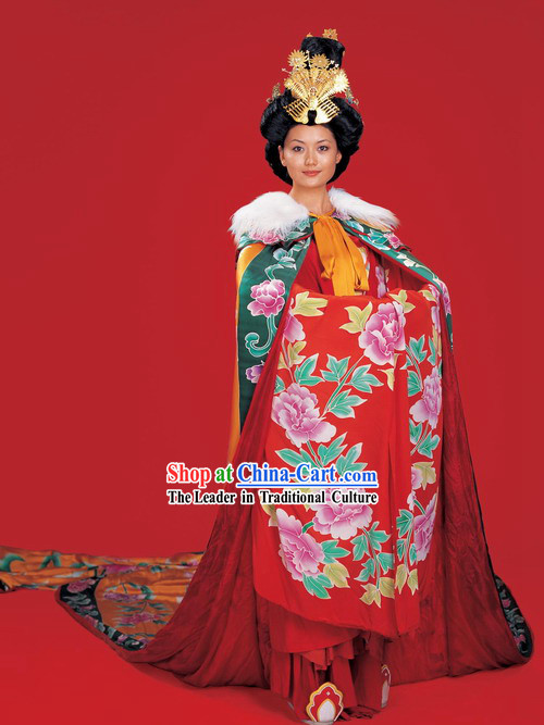 Ancient Tang Dynasty Queen Costume and Headpiece Complete Set