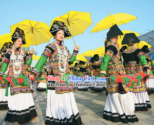 Chinese Traditional Yi Minority Clothing and Hat Complete Set