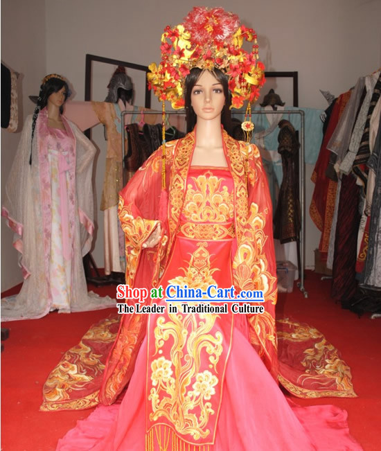 Ancient Chinese Princess Red Palace Wedding Dress and Headpiece Complete Set
