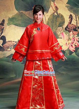 Chinese Classic Lucky Red Floral Wedding Dress Complete Set