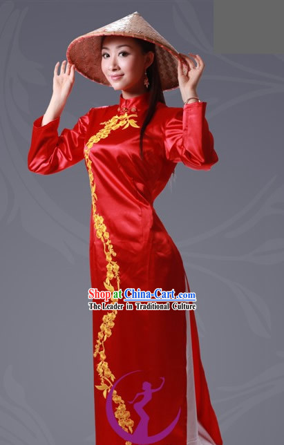 Chinese Jing Minority Costume and Bamboo Hat Complete Set