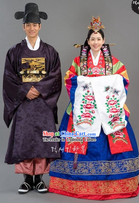 Traditional Korean Wedding Clothing for Bride and Bridegroom