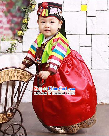 Traditional Korean Baby Birthday Hanbok Dress Complete Set