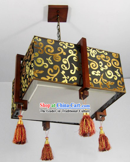 Chinese Classical Wood and Fabric Hanging Lantern