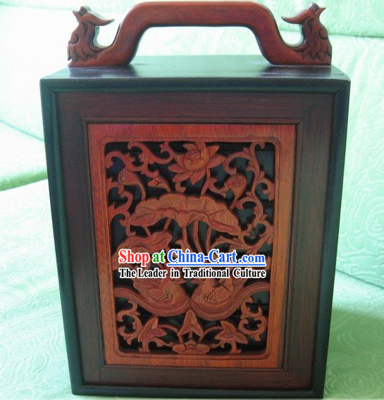 Chinese Classical Mandarin Ducks Mahjong Wooden Box