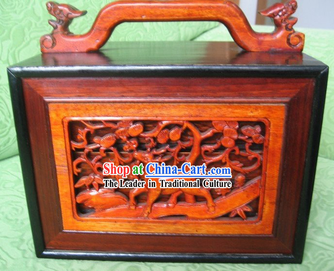 Chinese Classical Deer Mahjong Wooden Box