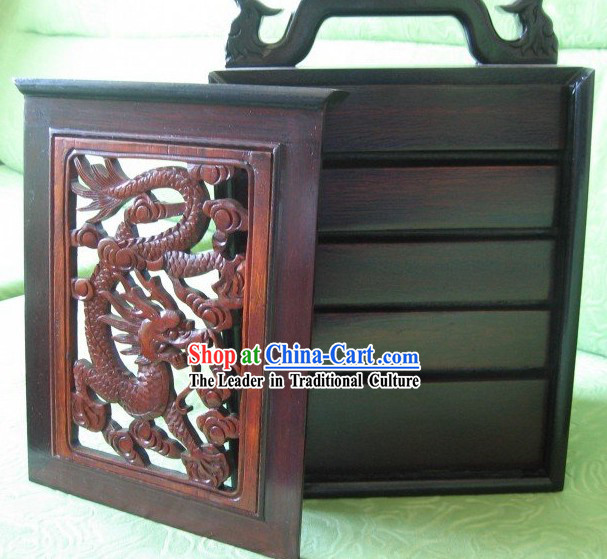 Chinese Classical Dragon Mahjong Wooden Box