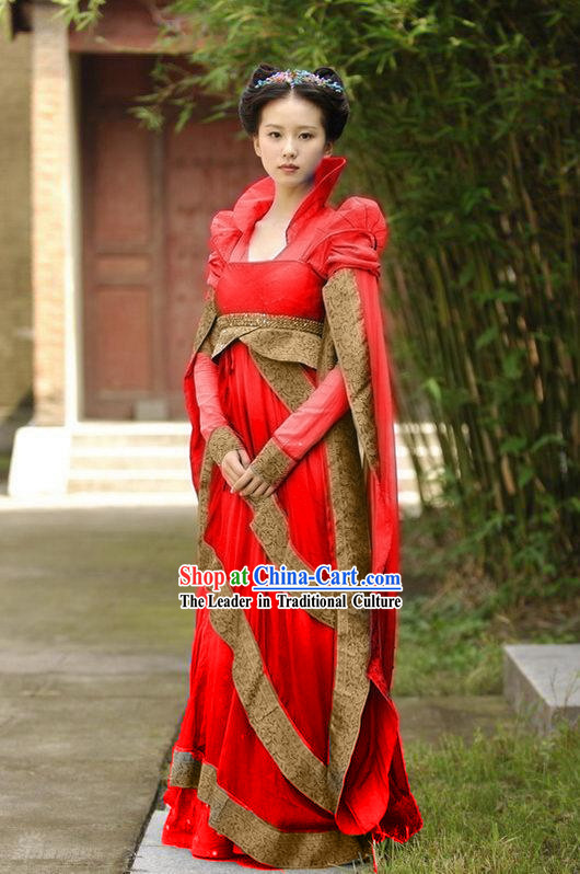 Chinese Ancient Princess Bride Wedding Dress, Hair Decoration and Wig Complete Set