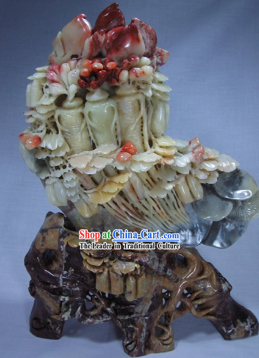 Natural Qingtian Jade Ginseng Sculpture