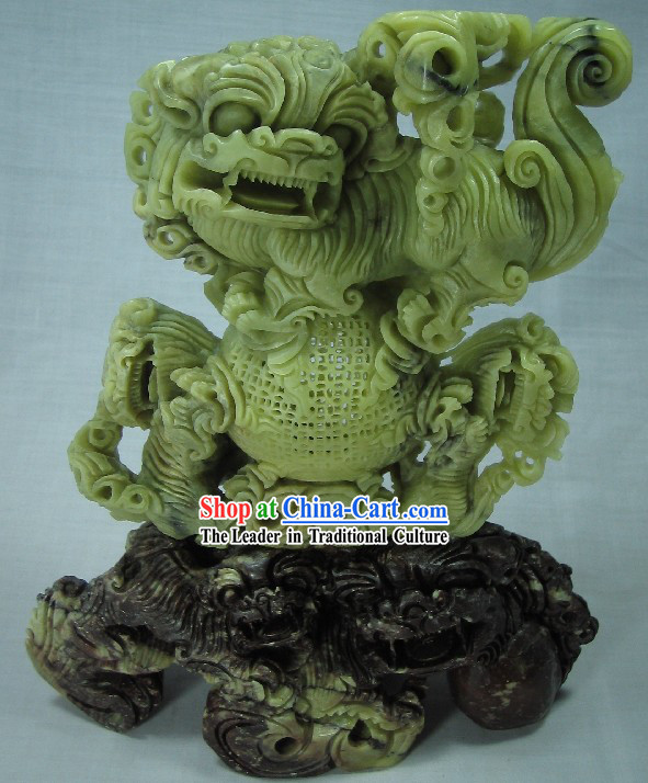 Chinese Classical Natural Qingtian Jade Lion King Sculpture