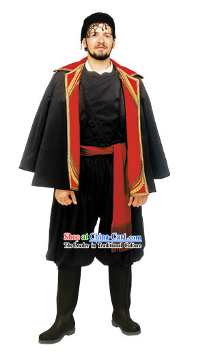 Cretan Male With Coat Traditional Greek Costume