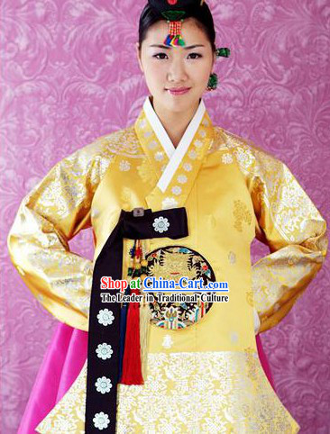 Supreme Korean Traditional Embroidered Dress and Hanbok Complete Set for Women