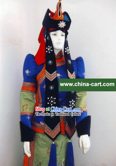 Traditional Mongolian Dance Costumes and Hat Complete Set