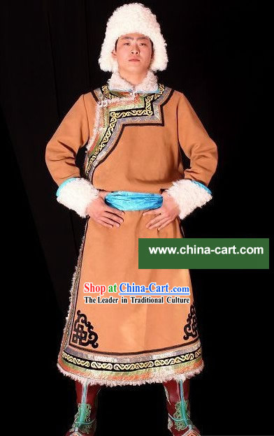Traditional Mongolian Long Robe and Hat for Men