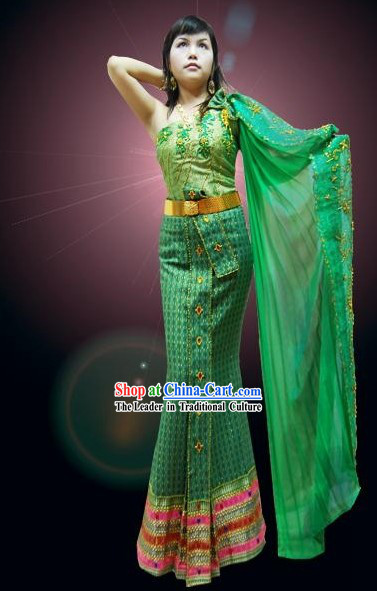 Traditional Thailand Dance Costume Complete Set