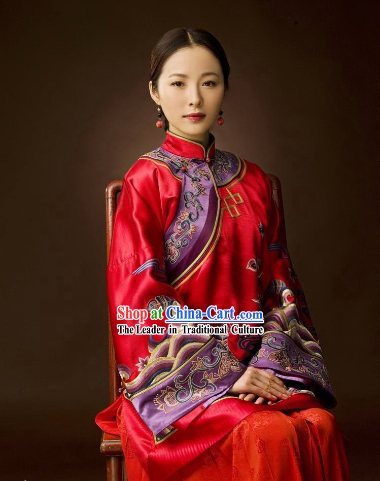 Chinese Silk Wedding Phoenix Dress Complete Set