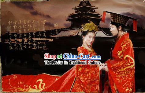 Supreme Chinese Traditional Embroidered Bride and Bridegroom Wedding Dress and Hat Complete 2 Sets